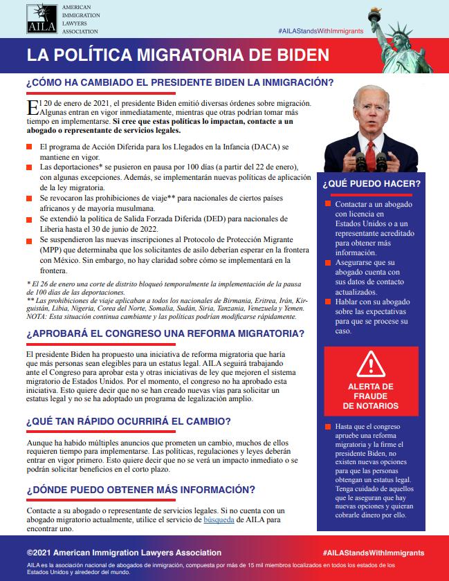 La Política Migratoria del Presidente Biden